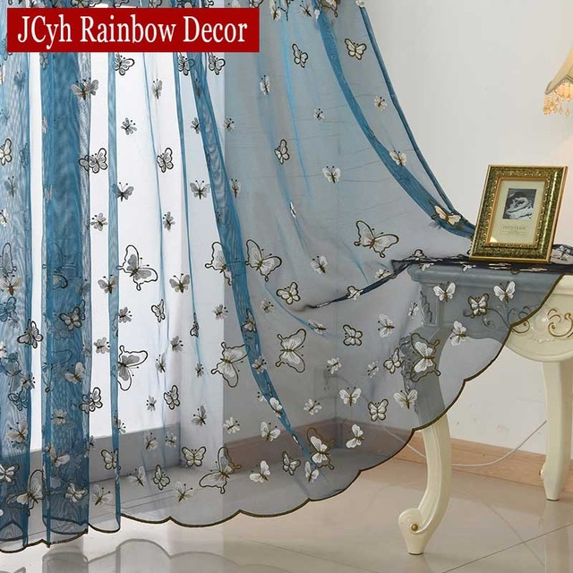 Blue Butterfly Embroidery Tulle Curtains For Living Room Bedroom