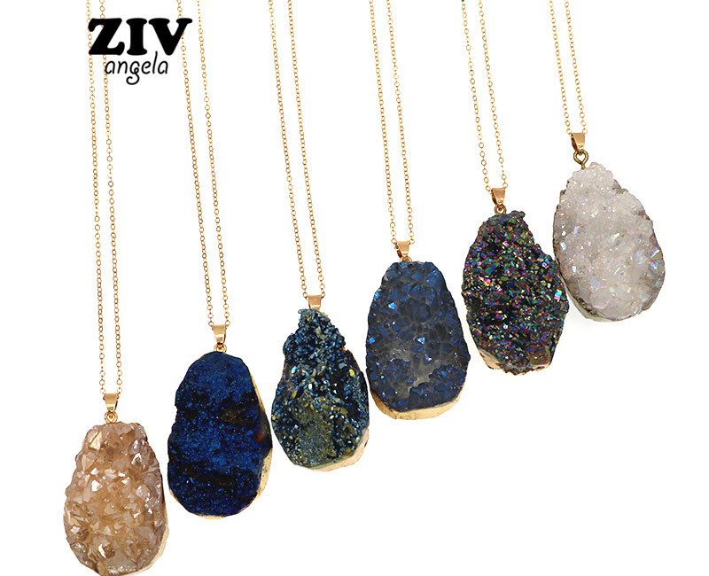 Fashion Irregular Natural Stone Blue White Quartz Crystal  Pendant Necklaces  Chain Necklace Jewelry