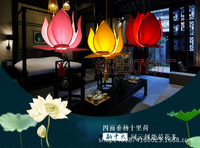 Chinese cloth lotus leaf chandelier dining room restaurant decoration lamp classical imitation cloth red lantern lotus ZS119