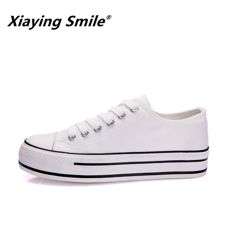 Xiaying Smile Women Canvas Shoes Female Spring Summer White Shoes Fashion Solid Color Lace-up Casual Increase Flatform Shoes 2018 new canvas shoes spring summer women shoes genuine leather canvas shoes female round toe flat shoes lace up female canvas s