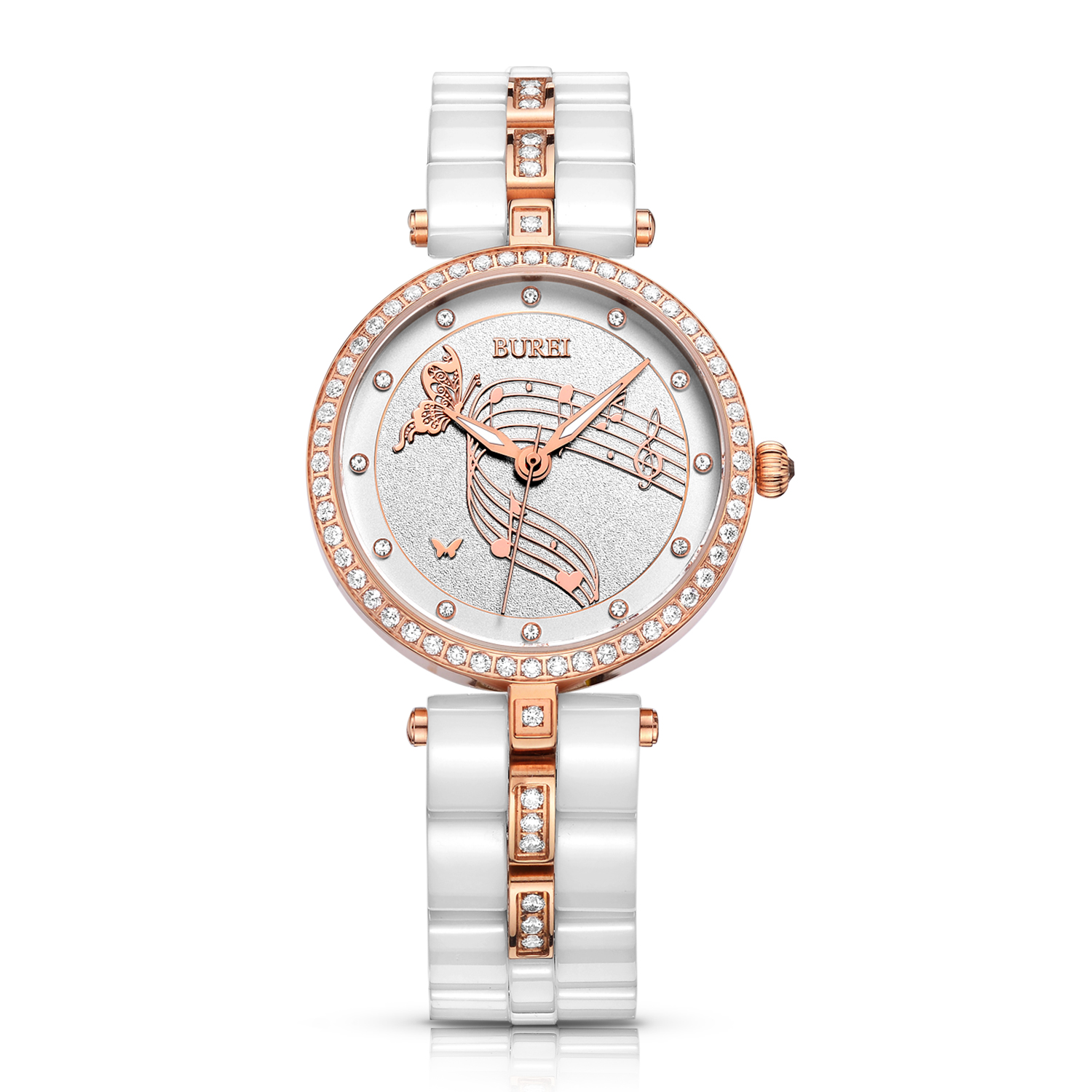 BUREI 3029 Switzerland watch women J12 series Women's Elegant  Crystal-Accented White Ceramic Watch with Rose Gold Hands vince camuto women s vc 5186chgb swarovski crystal accented gold tone multi function bracelet watch