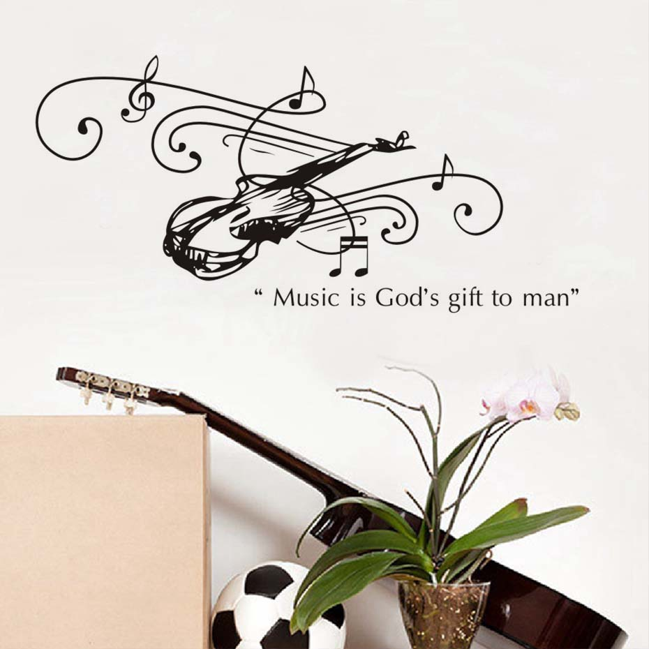 Music Is GodS Gift To Man Guitar Wall Stickers For Kids Room Living Room Home Decoration Pvc Decal Mural Art Diy Office Wall