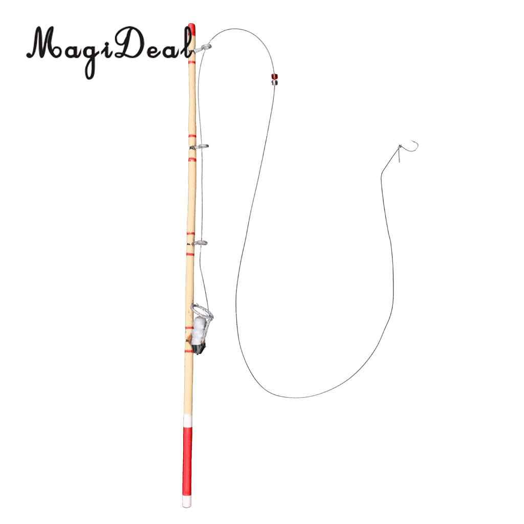 1:12 Dollhouse Miniature Accessory Fishing Rod Pole Winding Wheel Is Rotatable