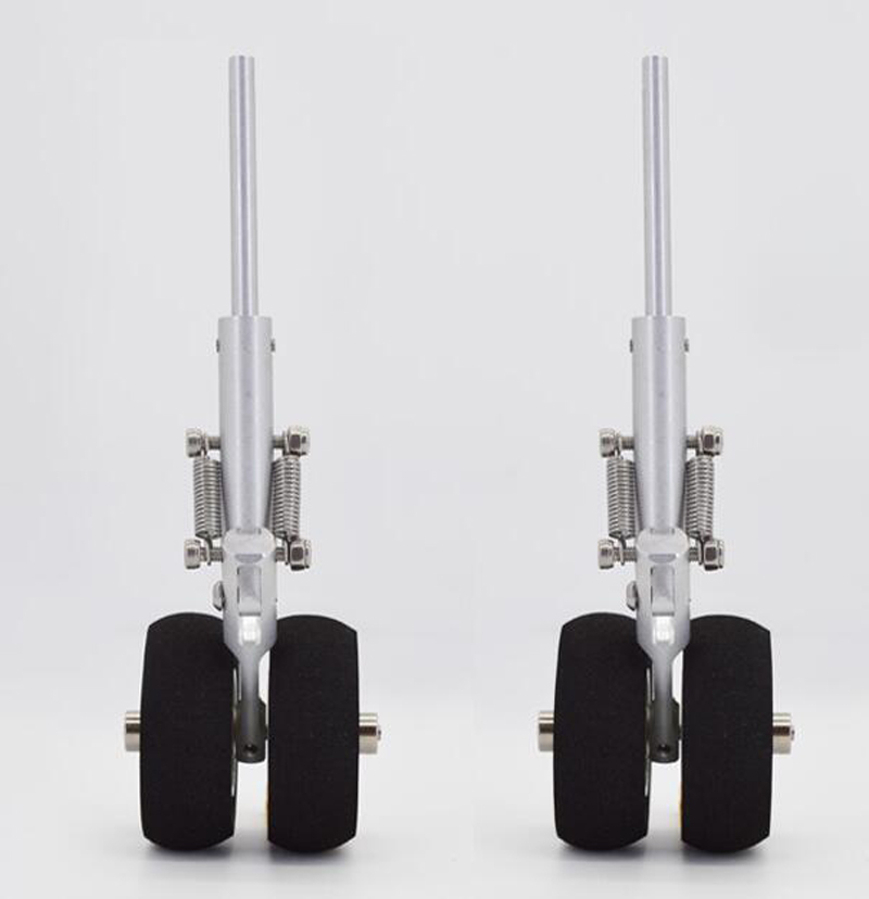 New RC Model Aluminum Alloy Landing Gear With Dual Wheel For SU27/F22 Fixwing Damping Undercarriage KT Board Send 1.5-2.0 Wrench