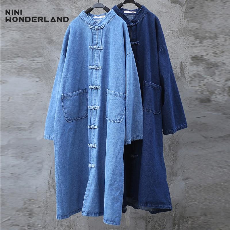 NINI WONDERLAND 2020 Autumn Denim   Trench   Coat Women Cowboy Cardigan Coat Vintage Female Big Size Outerwear Spring Clothes Casual