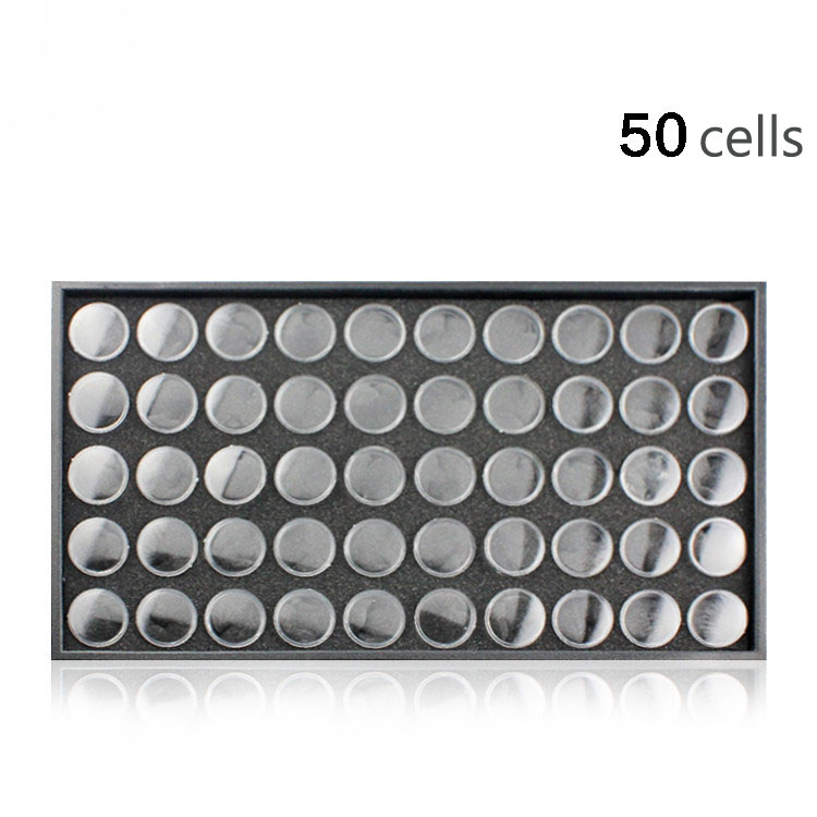 50Cells Portable Plastic Cosmetic Empty Jar Pot Box Makeup Nail Art Cosmetic Bead Storage Container Round Bottle Transparent 25 50 storage bottle plastic empty box case pot 4 nail art rhinestone bead gems