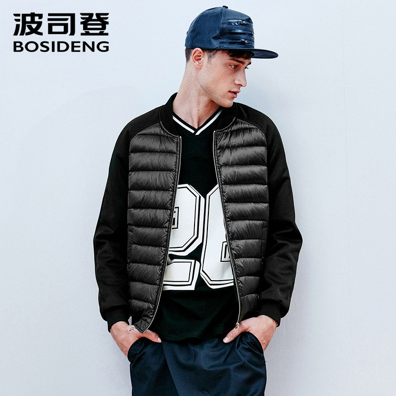 BOSIDENG   down   jacket for men   down     coat   ultra light outwear casual wear high quality 90% duck   down   spliced Big Size B1501023