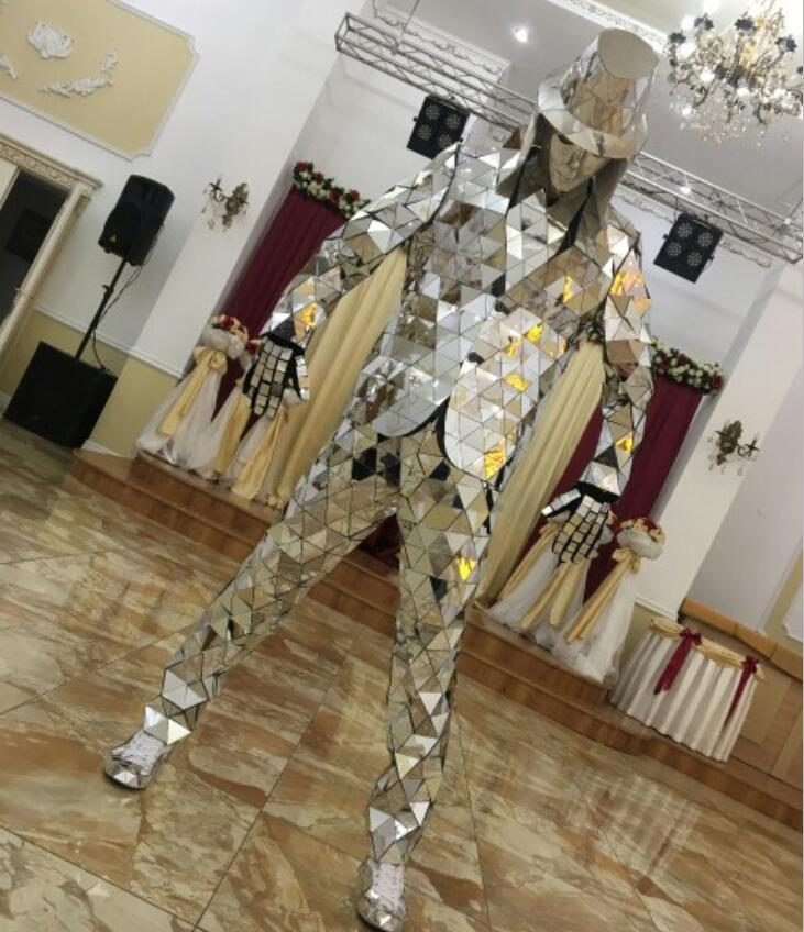 Fashion Mirror Clothing Event Party Supplies Mirror Robot Suit Dazzling Costume Men Reflective Stage Performance Clothes Outfit