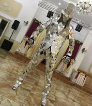 Зеркало Моды Костюмы событие для вечеринок зеркало робот костюм ослепительно костюм Для Мужчин Светоотражающие этап одежда для представлений наряд