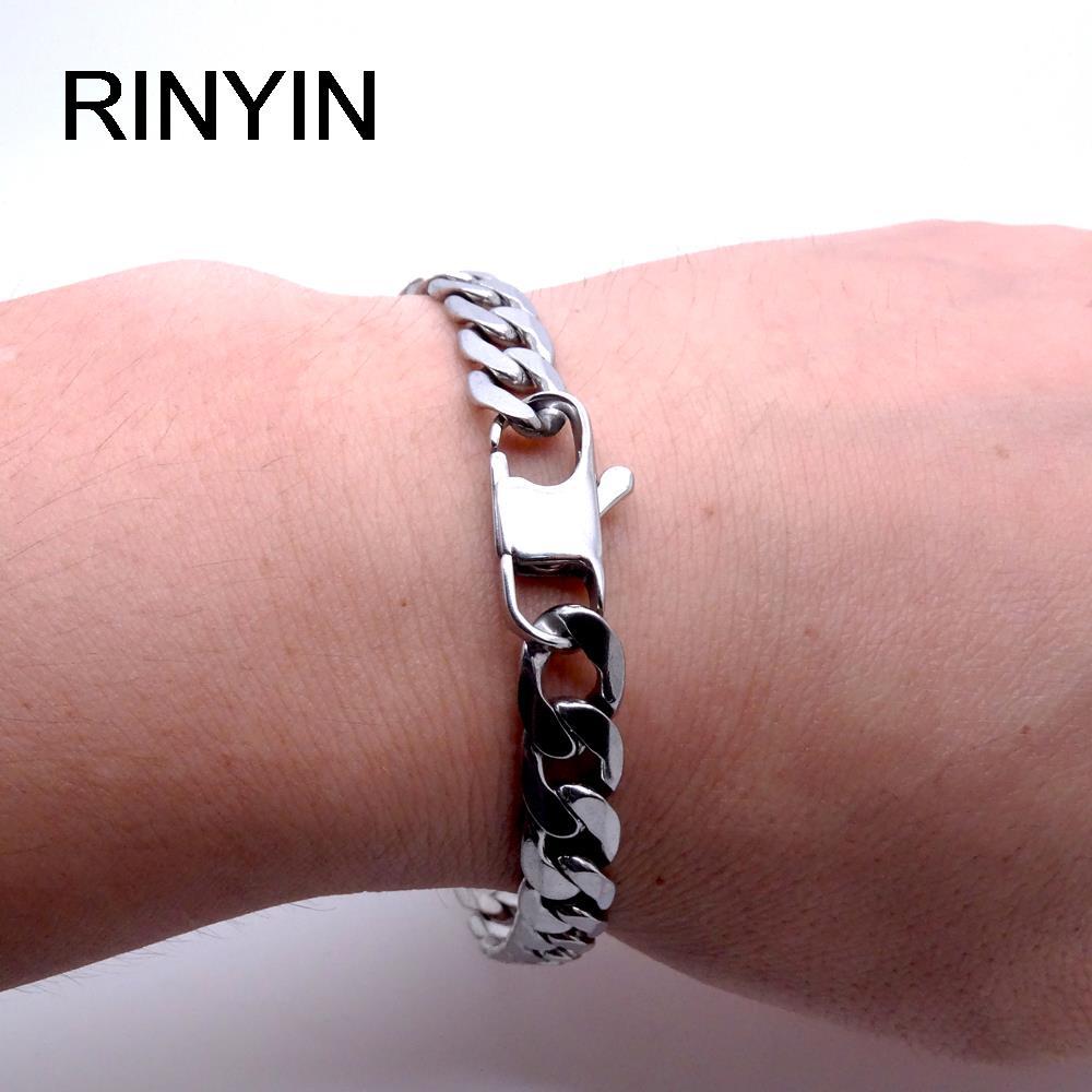 Men Women Stainless Steel Bracelet 6/8/12 mm 8 Inches Curb Chain Vintage Jewelry Punk Fan Factory Offer