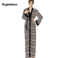 Ryseleco Women Open Stitch Geometric Pattern Long Maxi Muslim Dress Ties Wrap Spring Indie Folk Classic Gown Middle East Vestido