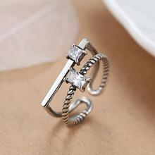 New Arrivals 925 Sterling Silver Retro Crystal Rings For Women Adjustable Size Finger Ring Fashion sterling-silver-jewelry