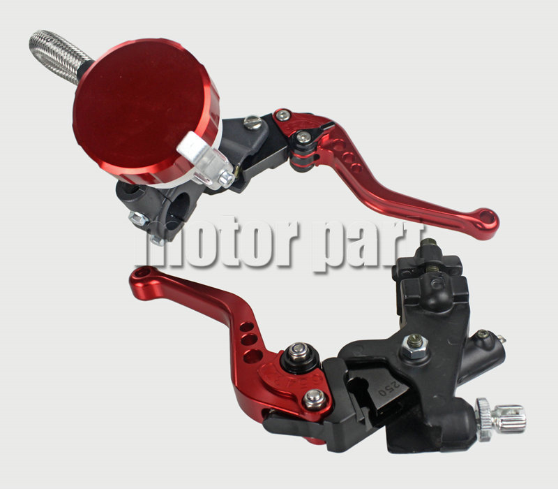Red Universal 22mm 7/8 Handlebar Adjustable CNC Brake Clutch Levers Master Cylinder Kit With Fluid Reservoir Set For BMW 38mm cylinder barrel piston kit