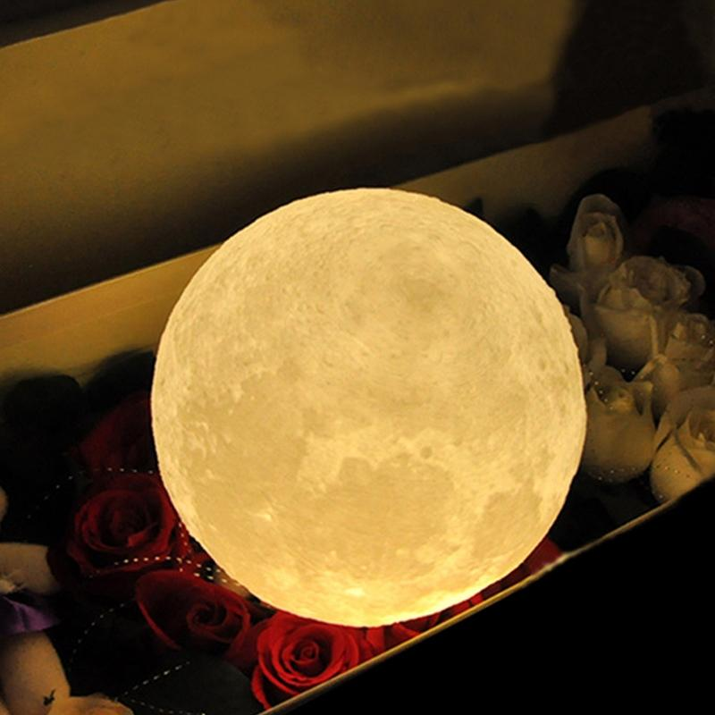 Simulation 3 LEDs USB Rechargeable Moonlight Desk Lamp with Wood Base 3D Moon Night Light