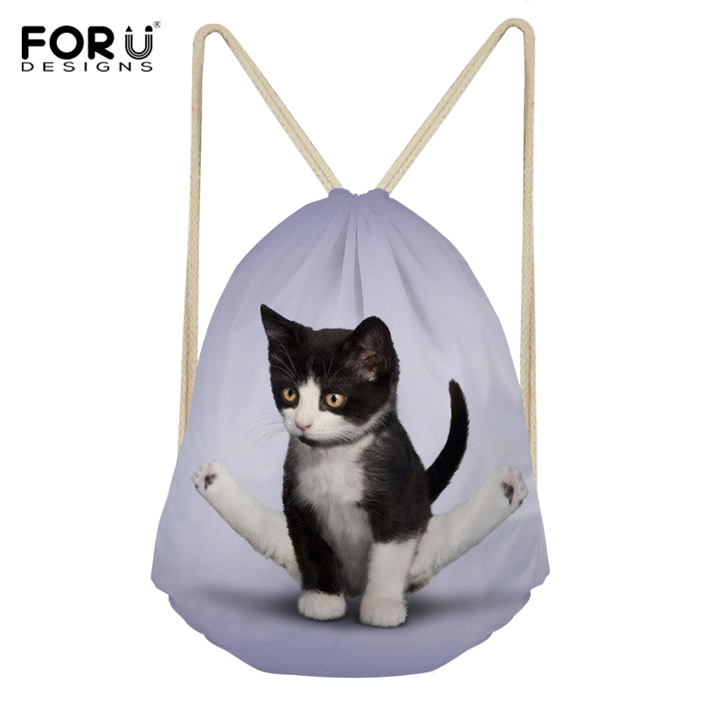 FORUDESIGNS Drawstring Bag Women's Shoulder Bag For 3D Yoga Cat Dog Printing Girls Cute Daily Bag Lightweight Kids Satchel