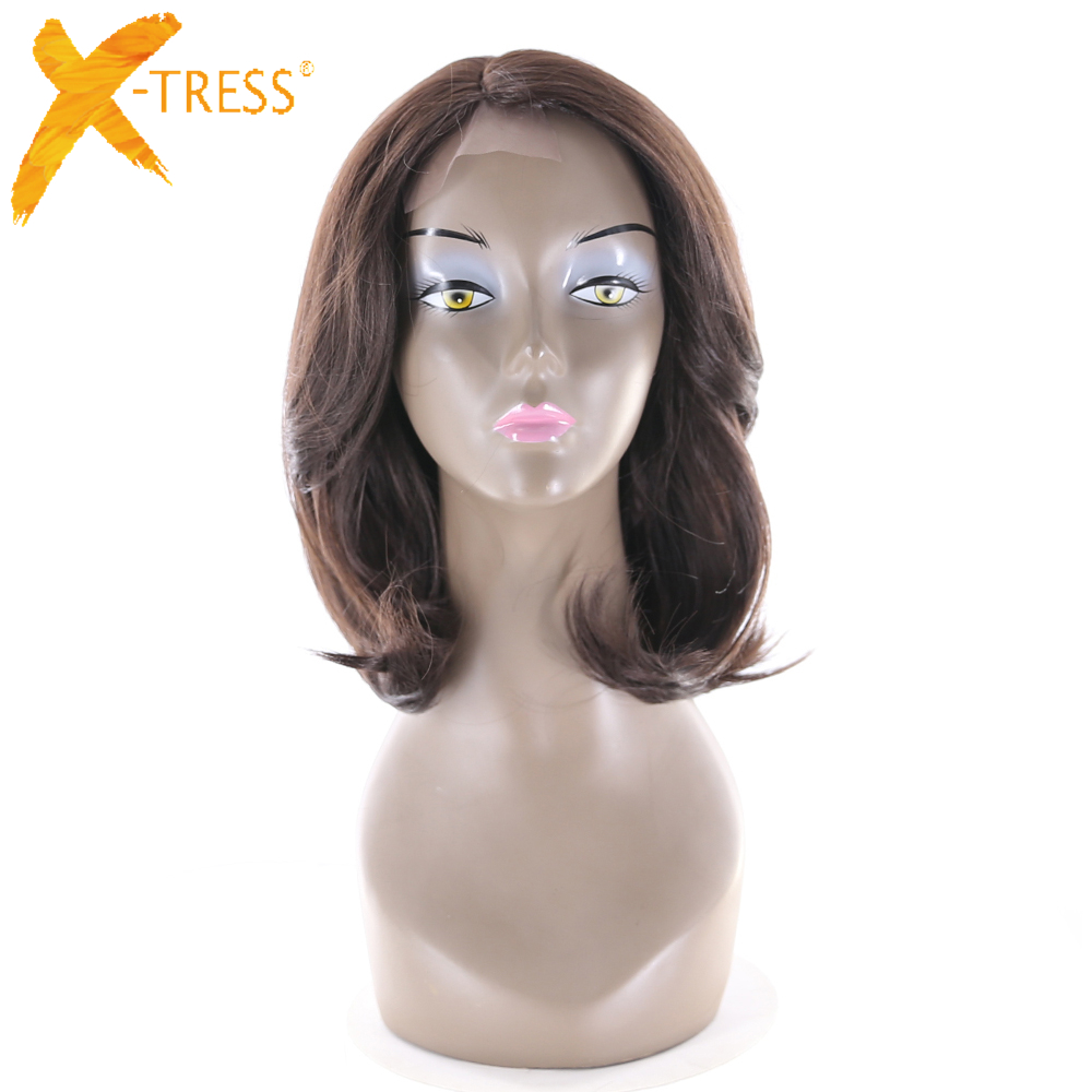 X-TRESS Wigs Part-Lace Synthetic-Hair Lace-Front Brown Short Grace-Wave 16inch Trendy