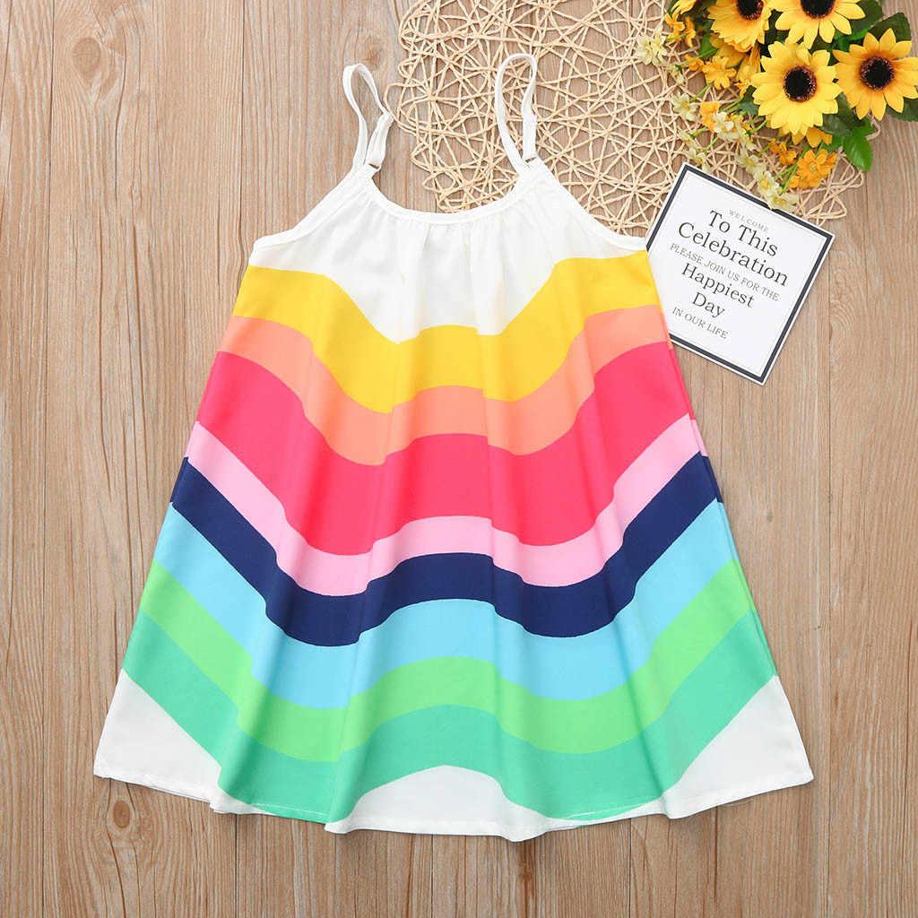 קיץ פעוט תינוק בנות ללא שרוולים קשת הדפסת שמלת אפוד שמלות בגדים