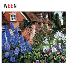 WEEN Flower Garden Diy Painting By Numbers Abstract House Yard Oil On Canvas Cuadros Decoracion Acrylic Wall Decor Gift