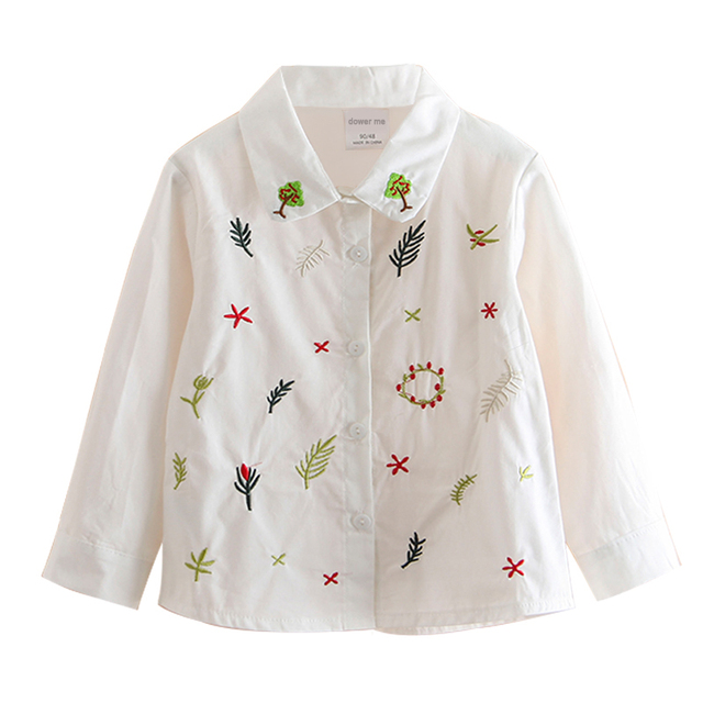 42e4cf80 Spring Autumn Long Sleeve Baby Girls Embroidered Shirt Fashion Exquisite  Plant Shirt Kids Turn Down Collar White Shirt For Girl