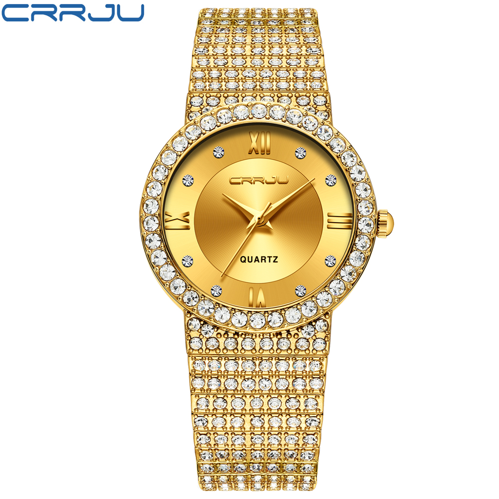 CRRJU Top Brand Quartz <font><b>Watch</b></font> Famous Brand <font><b>Bu</b></font> Diamond <font><b>Watch</b></font> Stainless Steel Timepiece Women Golden Clock Ladies Designer <font><b>Watch</b></font> image