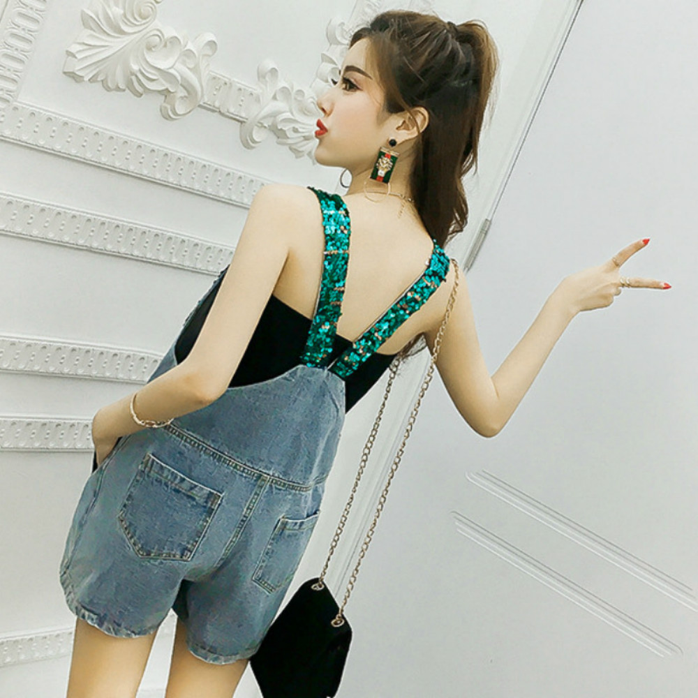 4103ce462f0 Chic sequins straps denim Jumpsuits shorts Cute Jeans Belt Pants high waist  piece pants loose Rompers Cowboy Sequins shorts-in Rompers from Women s  Clothing ...