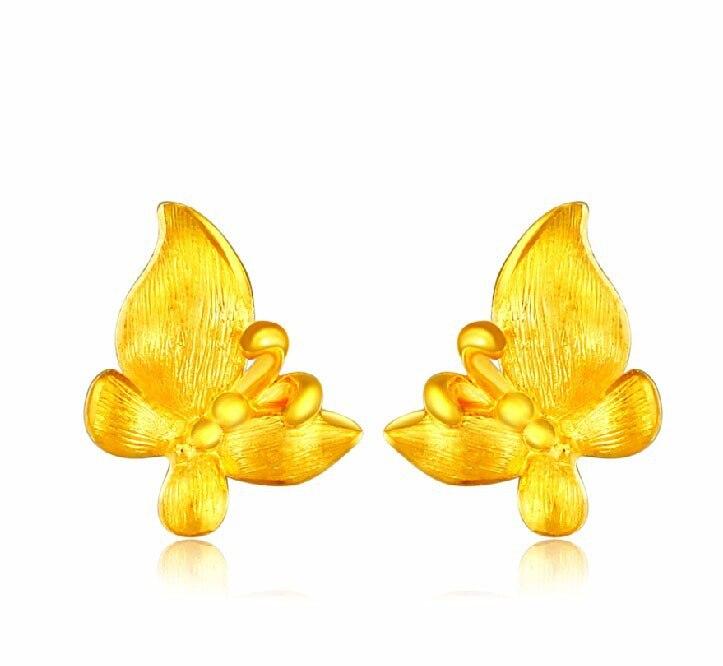 Authentique solide 24 k or jaune boucles d'oreilles/chanceux papillon boucle d'oreille Stud 2.23g mode