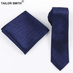 Классический деловой синий галстук для мужчин, Роскошный дизайнерский галстук с карманом, квадратный комплект ручной работы, чистый шелк, п...