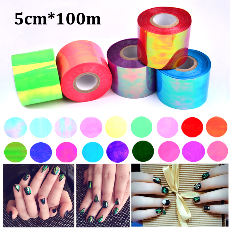 New 1roll 5cm*100m Holographic Shiny Laser Nail Transfer Foil Sticker Broken Glass DIY Nail Art Beauty Decal Stencil Decoration 5cm 100m new holographic shiny laser 20 colors nail transfer foil sticker broken glass nail art beauty transfer foil
