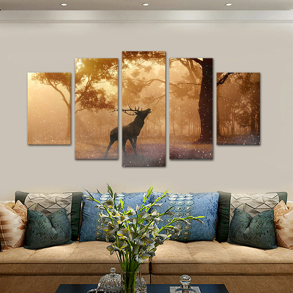 Unframed HD Print 5 Canvas Art Painting Forest Elk Living Room Decoration Spray Painting Mural Unframed Free Shipping
