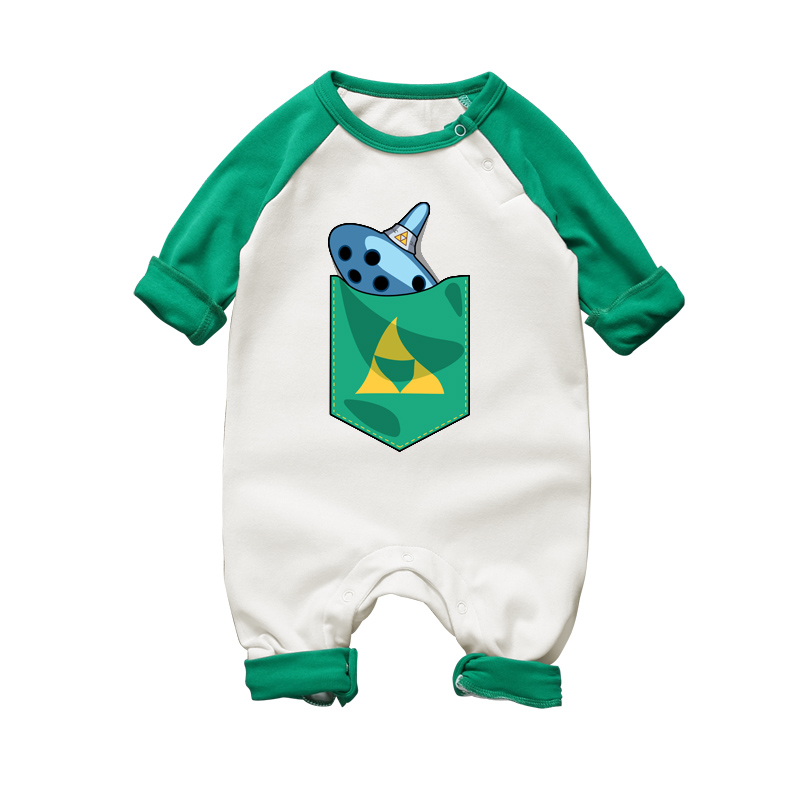 2017 Newborn Baby Clothes The Legend of Zelda Ocarina Printed Baby Rompers Long Sleeve Baby Girls Boys Jumpsutis Infant Pajamas blue 12 holes ocarina kiln fired ceramic alto c legend of zelda zelda ocarina flute of time xmas kids gift free shipping