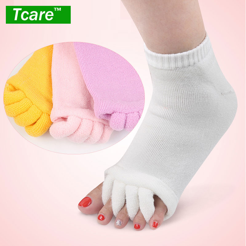 1Pair Five Toes Separators Foot Sock Hallux Valgus Corrector Bunion Adjuster Foot Care Alignment Straightener Socks цена