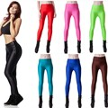 2017 Brand New Women Spring Skinny Disco Pants Leggings 9 Candy Neon Colors High Waist Workout Fitness Sporting Pants Plus Size