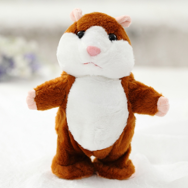 18cm Talking Hamster Toy Moving Electronic Pet Plush Toy Cute Sound Record Hamster Educational Toy For Kids Birthday Gift cute hamster plush backpack cartoon stuffed plush hamster toy girls school bag multifunction kids children toy birthday gift