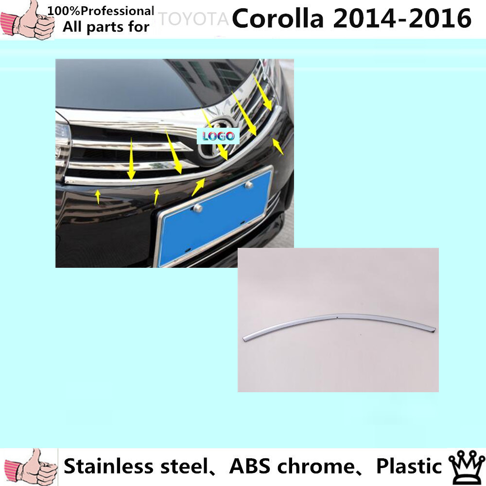 ФОТО Car body styling cover detector ABS chrome trim Front up Grid Grill Grille Around 1pcs for T0Y0TA Corolla Altis 2014 2015 2016