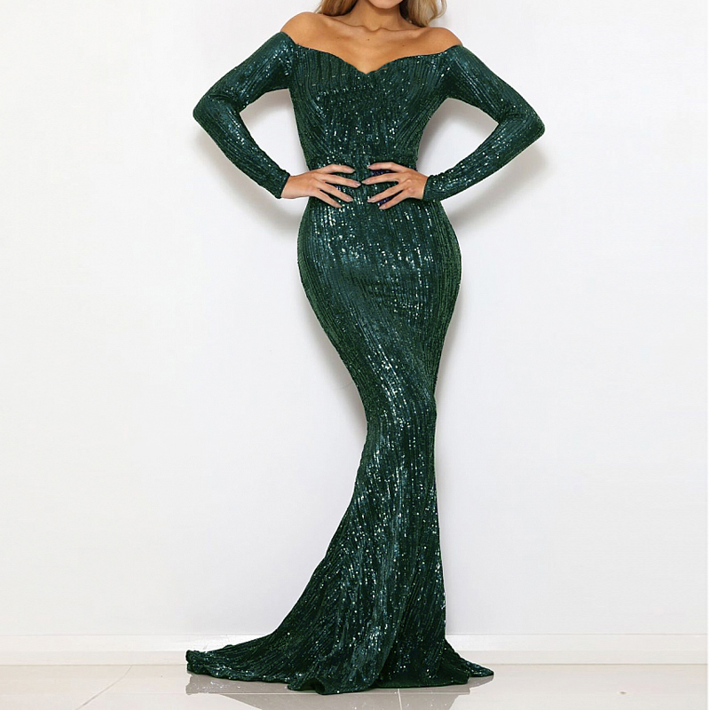 Navy Sequined Maxi Dress Stretch Slash Neck Champagne Gold Evening Party Dress Off The Shoulder Full Sleeved Dress