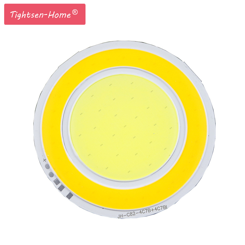 82MM 5W COB LED Ultra Bright Round COB LED White+Warm Light Lamp source Chips Diy DC12V 400MA 3 years warranty DIY car DRL light best price 6w 520lumen cob 76 led chip strip bar light pure warm white home bulb for diy car auto light source drl lamp dc12v