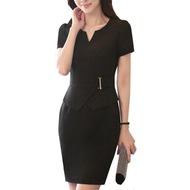 51a7ed202411a Womens Elegant Business Dress V-Neck One-Piece Dress OL Solid Short Sleeve  Summer Dresses Office Formal Plus Size Work Uniform