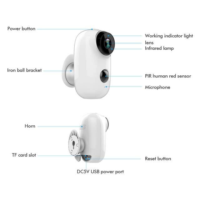 SDETER Rechargeable Battery Wireless IP Camera-WIFI Weatherproof Outdoor  Indoor IP65 CCTV Security Camera PIR Motion Sensor Cam