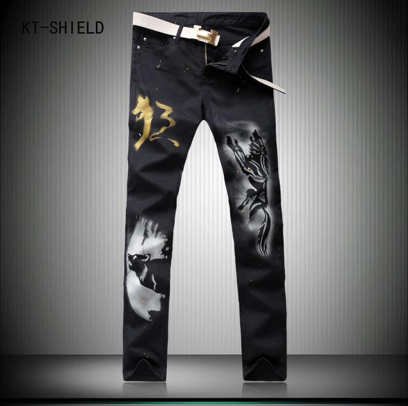 3d printed wolf jeans mens biker Motorcycles moto casual cargo trousers Hip hop skinny harem pants pantalon mezclilla hombre свадебная фата 2015 hs2362