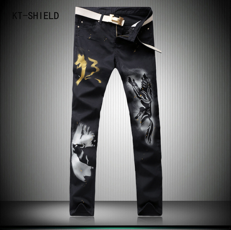 Wolf Printed biker jeans Men High Quality Elastic Jeans Slim Fit Fashion Brand Clothing Designer Mens cargo pants Denim Overalls high quality 3d printed biker jeans for men fashion denim mens jeans new famous brand elastic skinny jeans casual men clothing