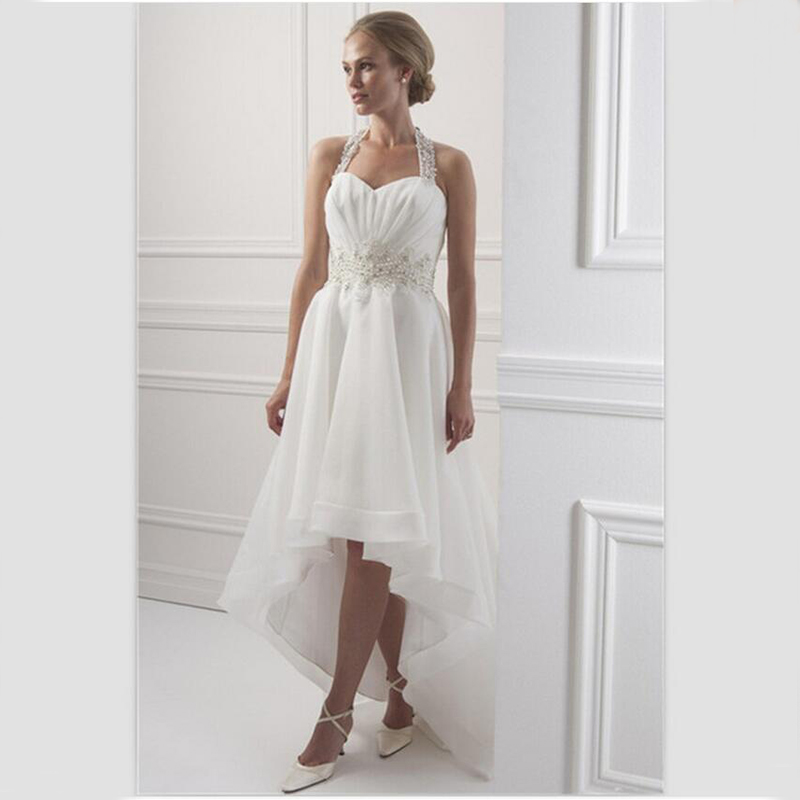 Bu White Organza Wedding Dress Short Front Long Back 2015 Halter