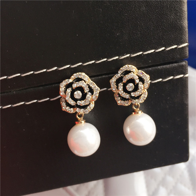 E50 Camellia Flowers pearls Luxury Famous Brand boucles d oreille Jewelry  Earrings For Women a0738ef660fa