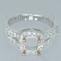 Jewelry Sets Vintage Cushion 5 5mm Solid 18kt White Gold Diamond Setting Ring SR305A