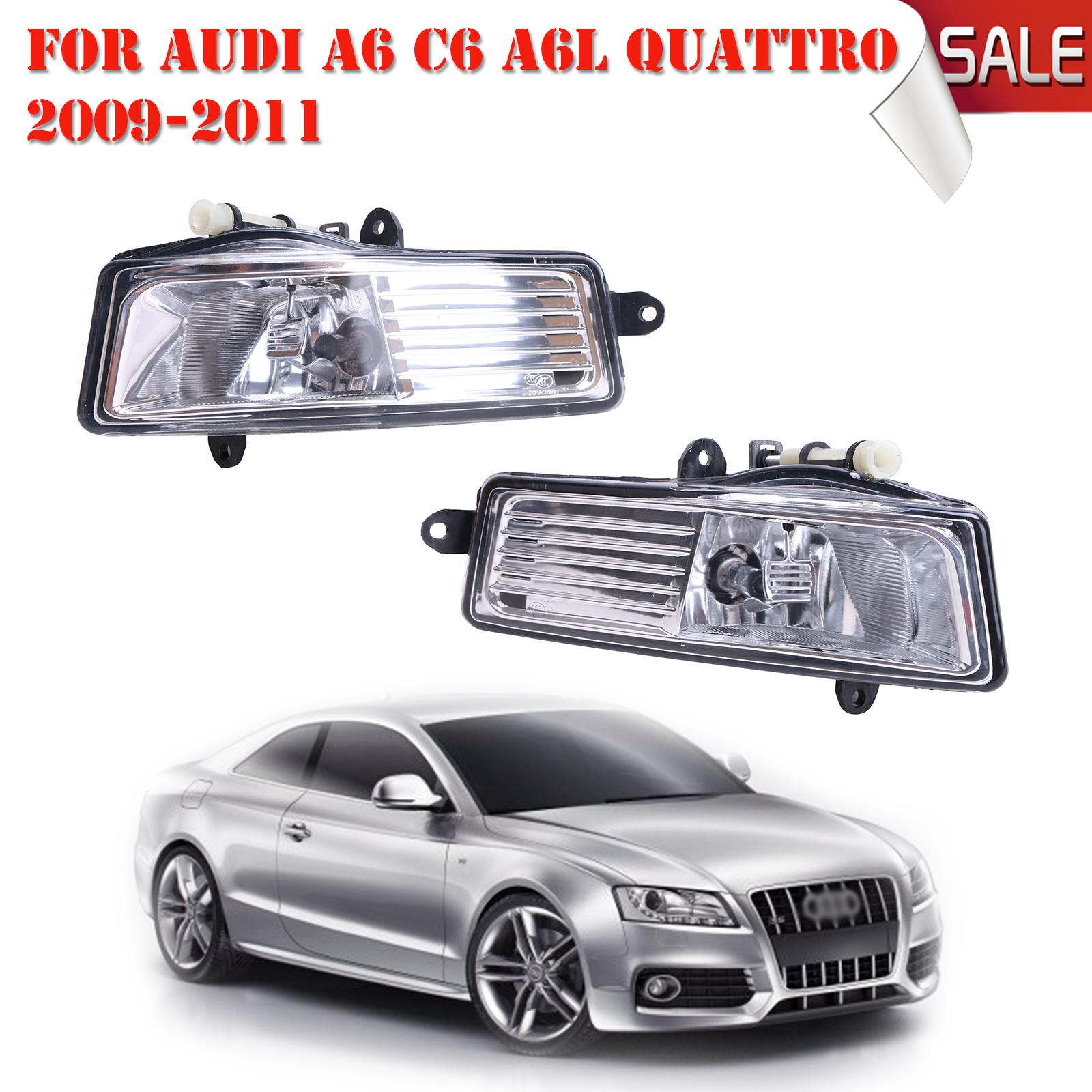 1 Pair Front Fog Lights Foglamps Set For Audi A6 C6 A6L Quattro 2009 2010 2011 4FD941699A + 4FD9416700A Car-Styling #P313 0001108175 0986018340 458211 new starter for audi a4 a6 quattro volkswagen passat 2 8 3 0 4 2 l