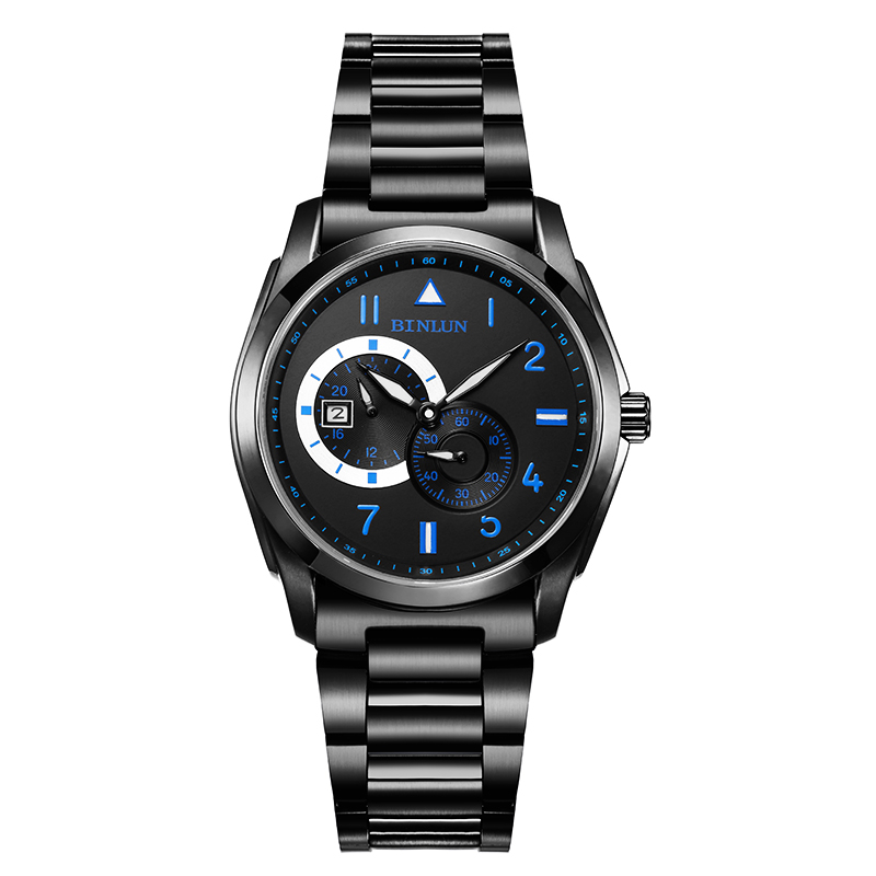 BINLUN Black Men's Automatic MechanicalSport Watches Waterproof Military Stainless Steel Wrist Watch with Calendar Luminous Hand stylish 8 led blue light digit stainless steel bracelet wrist watch black 1 cr2016