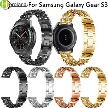 Купить с кэшбэком new 22MM Replacement watch band For Samsung Gear S3 Frontier / Classic smart Watch Band Cowboy chain Stainless Steel for Gear S3
