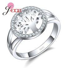 0909fc521dc9 JEXXI Árbol de la vida 925 anillos de plata esterlina para mujeres de plata  de circonio cúbico anillo de boda para niña nuevo De.