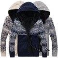 Мода мужская свитера пальто хлопка с длинным рукавом мужская зимняя свитера с капюшоном вязаный свободного покроя свитера оптовая продажа