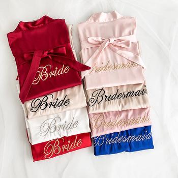 Chiński kobiety Rayon hafty panna młoda druhna Kimono szlafrok sukienka Sexy Mini snu nocna koszula nocna piżamy szaty ślubne S0102 tanie i dobre opinie YZYOUTHZING Poliester Stałe Połowa Powyżej kolana Mini Satin 3S71959 Lato M L XL Blue Pink Green White Red Letter Home Wear Casual Daily Wear Bride Bridesmaid Wedding Wear