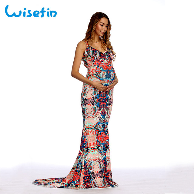 426254a1cc7d5 US $16.6 44% OFF|Wisefin Maternity Dress For Women Sexy Pregnant Dress  Photography Summer Maxi Dresses Maternity Photo Shoot Gown Lady Vestidos-in  ...